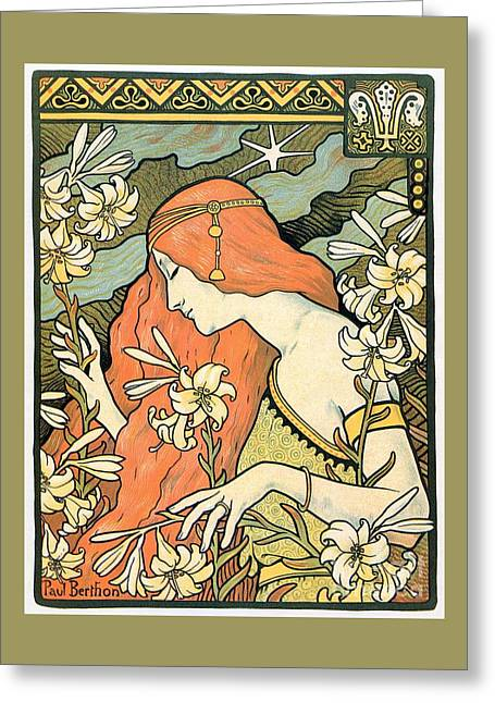 1897 Ermitage Red Haired Lady Greeting Card