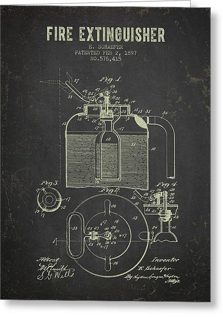 1897 Fire Extinguisher Patent - Dark Grunge Greeting Card by Aged Pixel