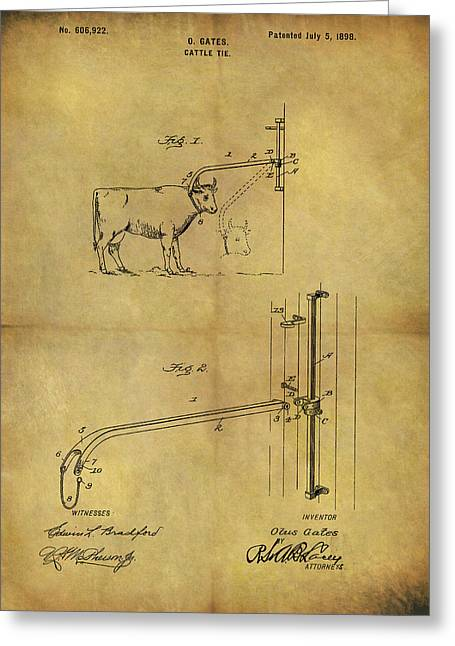 1898 Cattle Tie Patent Greeting Card by Dan Sproul
