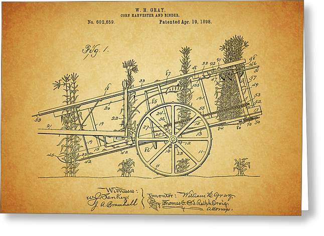 1898 Corn Harvester Patent Greeting Card by Dan Sproul