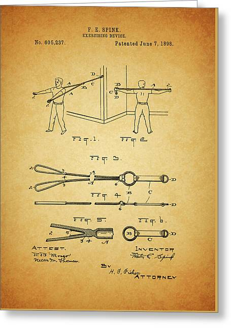 1898 Exercising Device Patent Illustration Greeting Card