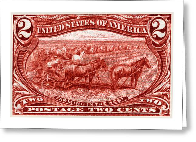 1898 Farming In The West Stamp Greeting Card