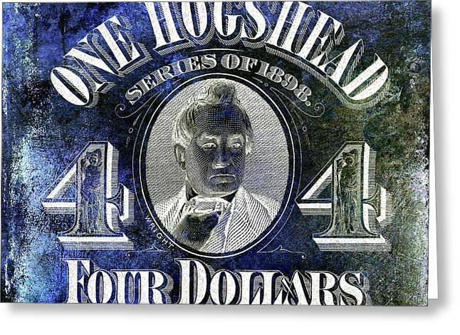1898 Hogshead Beer Tax Stamp Blue Greeting Card by Jon Neidert