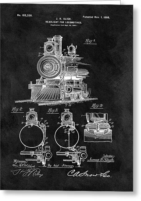 1898 Locomotive Headlight Patent Greeting Card by Dan Sproul