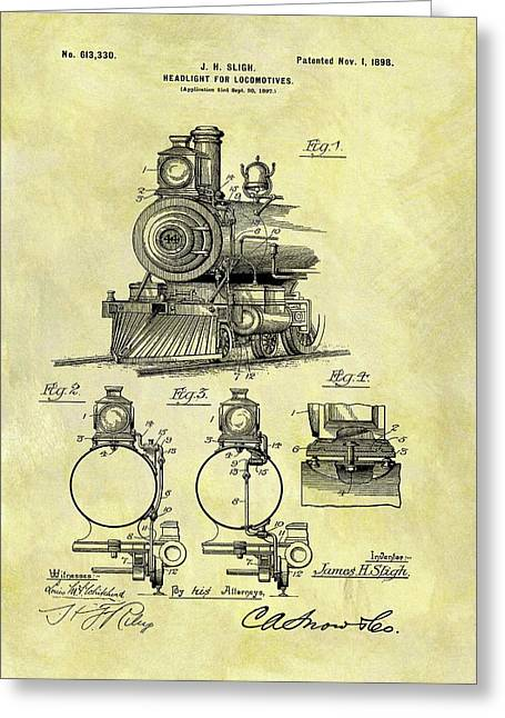 1898 Locomotive Patent Greeting Card by Dan Sproul