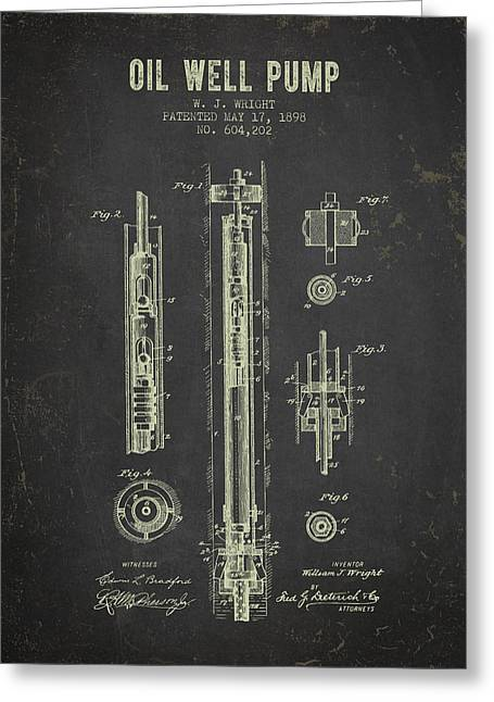 1898 Oil Well Pump Patent - Dark Grunge Greeting Card by Aged Pixel
