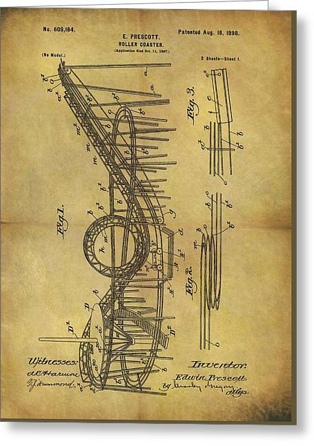 1898 Roller Coaster Patent Greeting Card by Dan Sproul
