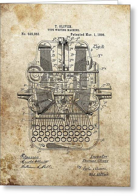 1898 Typewriter Patent Greeting Card by Dan Sproul