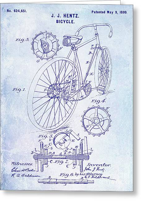 1899 Bicycle Patent Blueprint Greeting Card by Jon Neidert