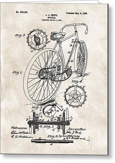 1899 Bicycle Patent Greeting Card by Dan Sproul