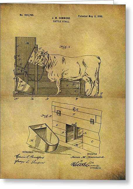 1899 Cattle Stall Patent Greeting Card by Dan Sproul