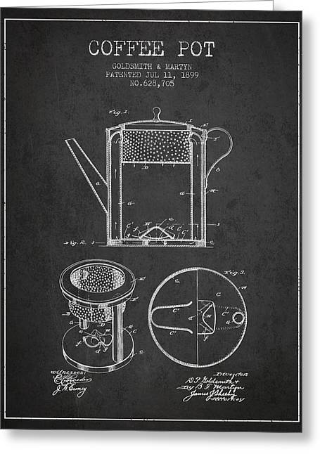 1899 Coffee Pot Patent - Charcoal Greeting Card by Aged Pixel