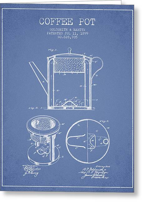 1899 Coffee Pot Patent -  Light Blue Greeting Card by Aged Pixel