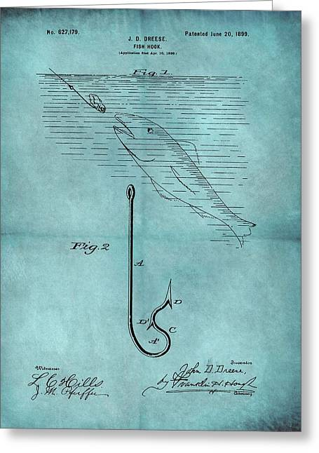 1899 Fishing Hook Patent Blue Greeting Card by Dan Sproul