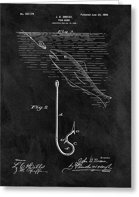 1899 Fishing Hook Patent Greeting Card by Dan Sproul