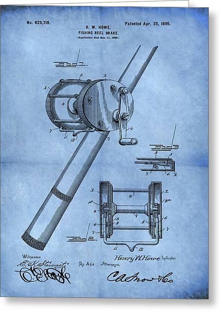 1899 Fishing Reel Patent Blue Greeting Card