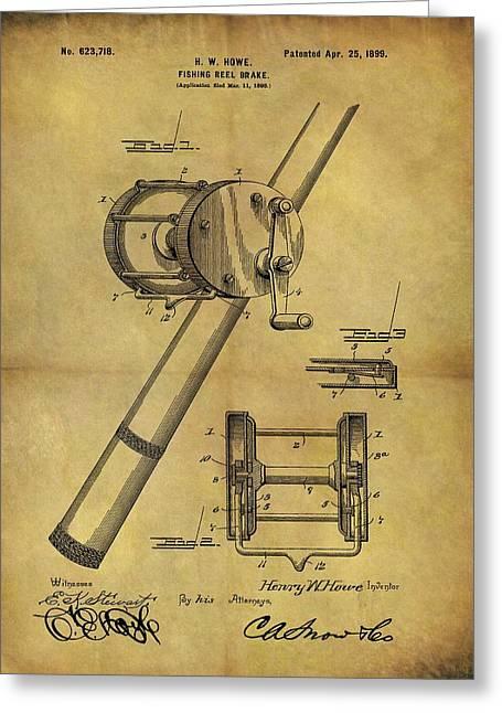 1899 Fishing Reel Patent Greeting Card