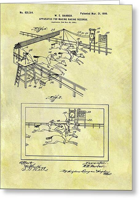 1899 Horse Racing Track Patent Greeting Card by Dan Sproul
