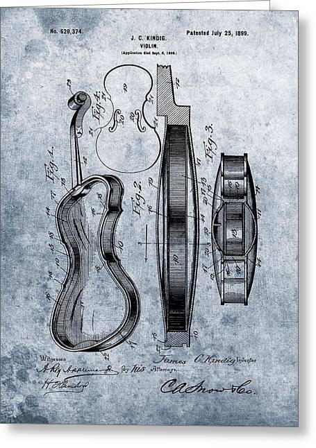 1899 Violin Blue Patent Greeting Card by Dan Sproul