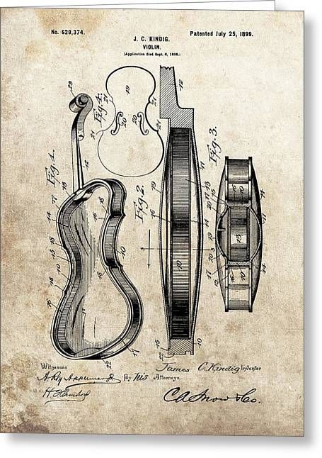 1899 Violin Patent Illustration Greeting Card by Dan Sproul