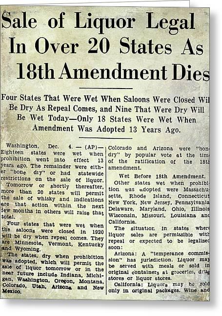 18th Amendment Article Greeting Card