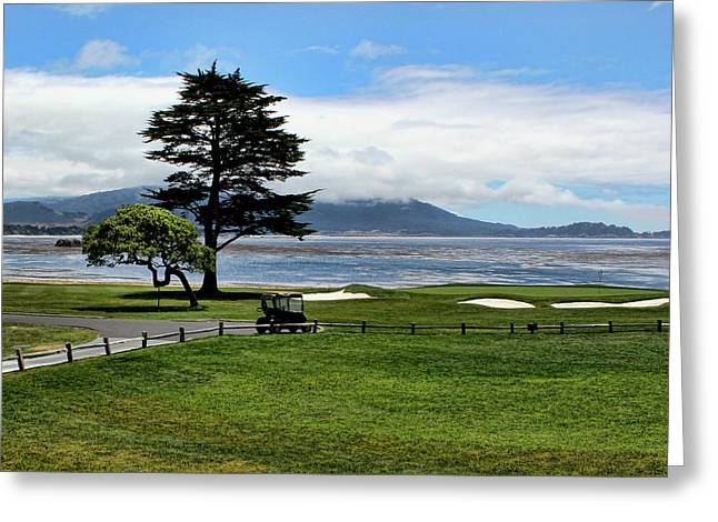 18th At Pebble Beach Horizontal Greeting Card