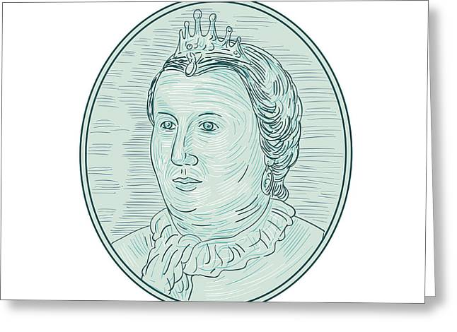 18th Century European Empress Bust Oval Drawing Greeting Card