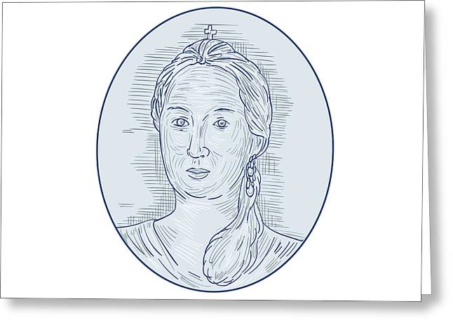 18th Century Russian Empress Bust Oval Drawing Greeting Card
