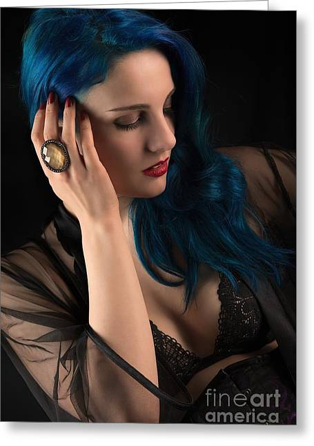 Glamorous Hollywood Style Woman Greeting Card by Amanda Elwell