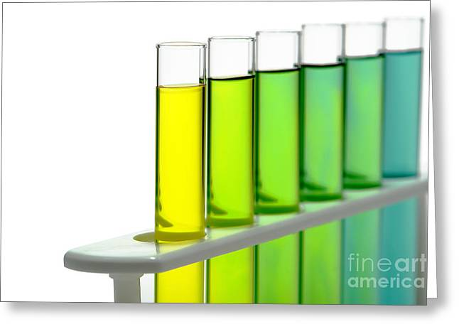 Laboratory Test Tubes In Science Research Lab Greeting Card by Olivier Le Queinec