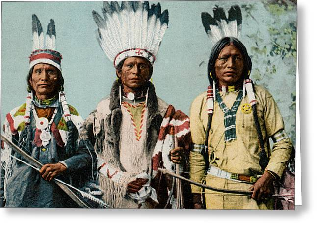 1900 Apache Indian Warriors Greeting Card by Historic Image