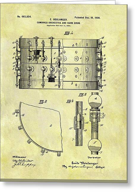 1900 Band Drum Patent Greeting Card by Dan Sproul