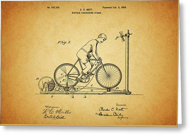 1900 Bicycle Exercise Stand Greeting Card