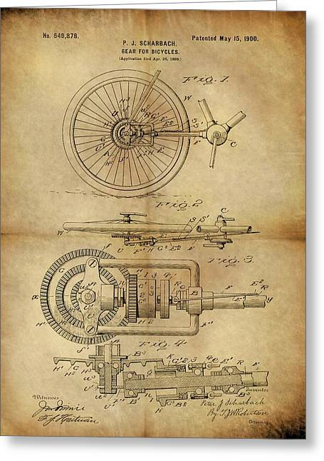 1900 Bicycle Gear Patent Greeting Card by Dan Sproul