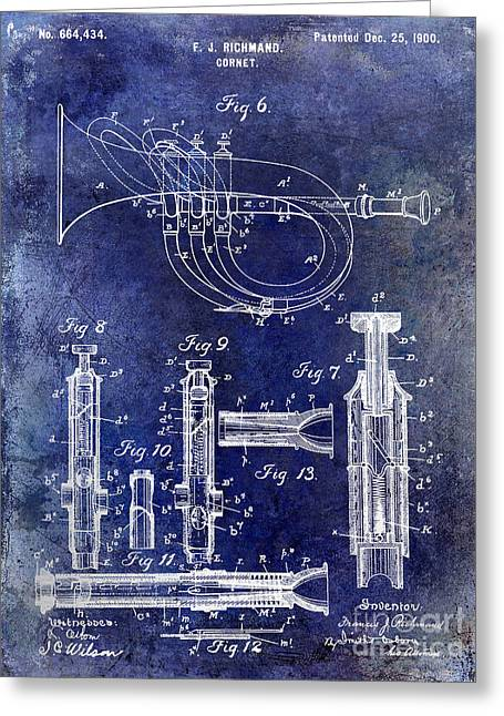 1900 Cornet Patent Blue Greeting Card by Jon Neidert