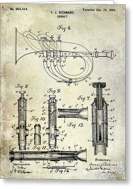 1900 Cornet Patent Greeting Card by Jon Neidert