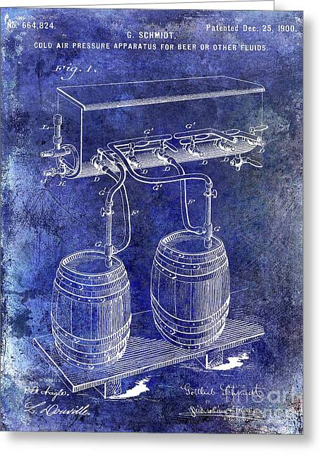 1900 Draft Beer Patent Blue Greeting Card