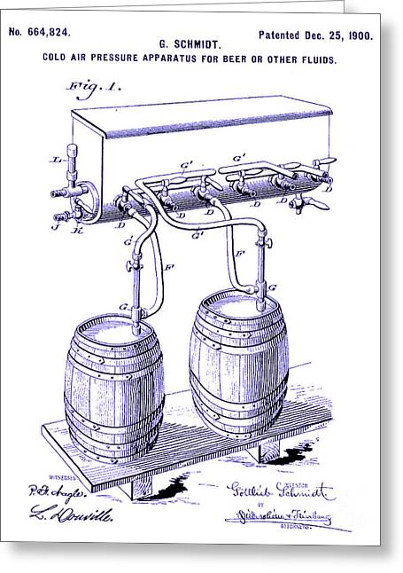 1900 Draft Beer Patent Blueprint Greeting Card by Jon Neidert