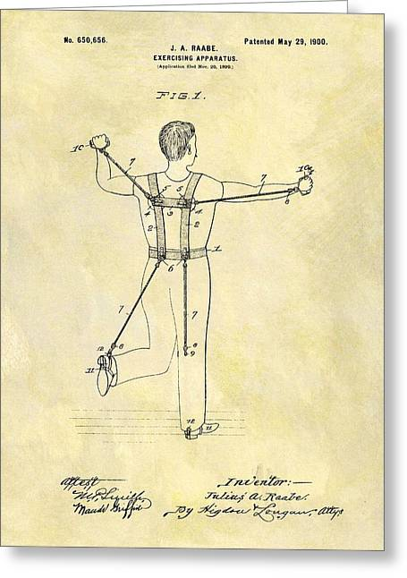 1900 Exercising Machine Patent Greeting Card by Dan Sproul