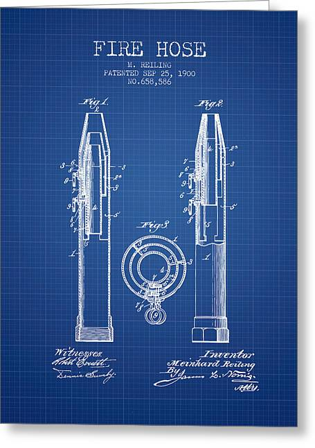 1900 Fire Hose Patent - Blueprint Greeting Card by Aged Pixel