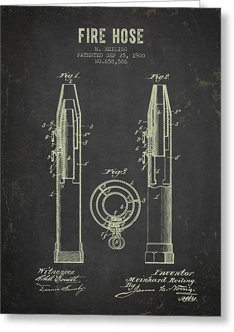 1900 Fire Hose Patent- Dark Grunge Greeting Card