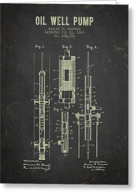 1900 Oil Well Pump Patent - Dark Grunge Greeting Card by Aged Pixel