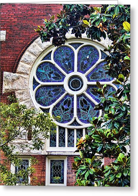 University Of Alabama Greeting Cards - 1901 Antique UAB Gothic Stained Glass Window Greeting Card by Kathy Clark