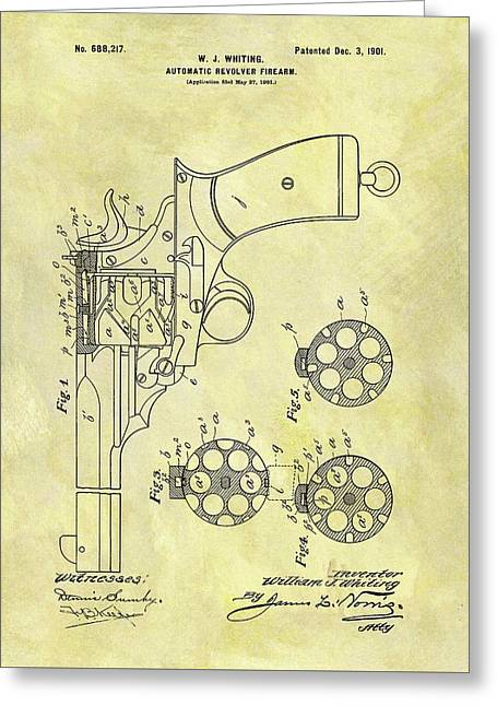 1901 Automatic Revolver Patent Greeting Card by Dan Sproul