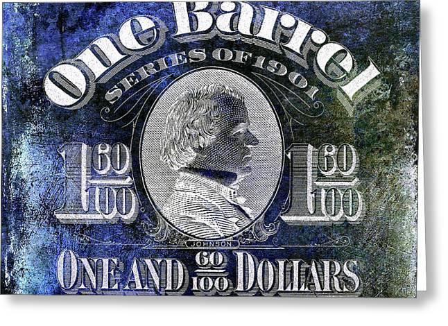 1901 Beer Barrel Tax Stamp Blue Greeting Card by Jon Neidert