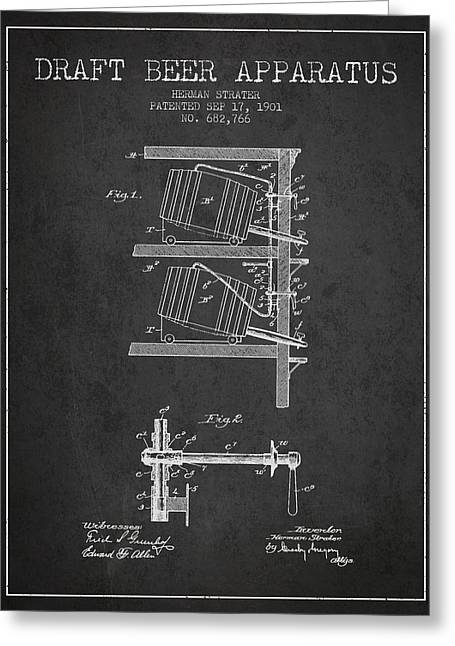1901 Draft Beer Apparatus - Charcoal Greeting Card by Aged Pixel