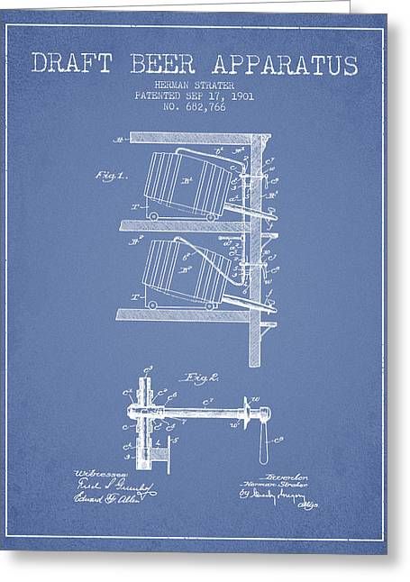 1901 Draft Beer Apparatus - Light Blue Greeting Card by Aged Pixel