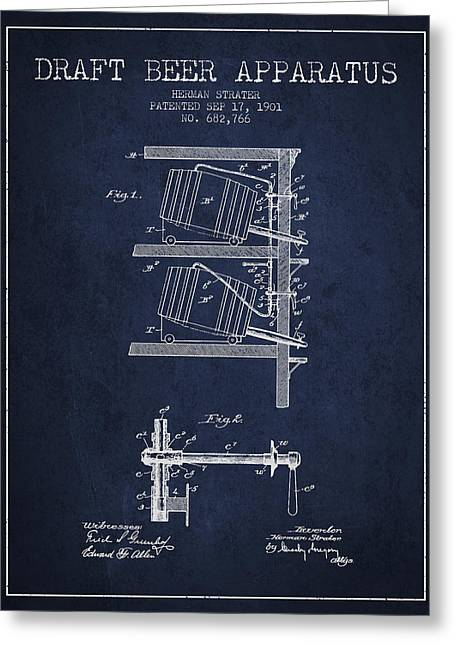1901 Draft Beer Apparatus - Navy Blue Greeting Card by Aged Pixel