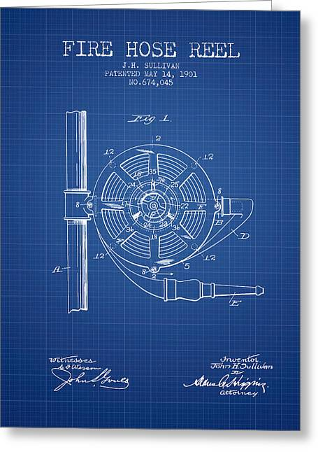 1901 Fire Hose Reel Patent - Blueprint Greeting Card by Aged Pixel