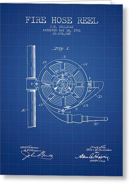 1901 Fire Hose Reel Patent - Blueprint Greeting Card